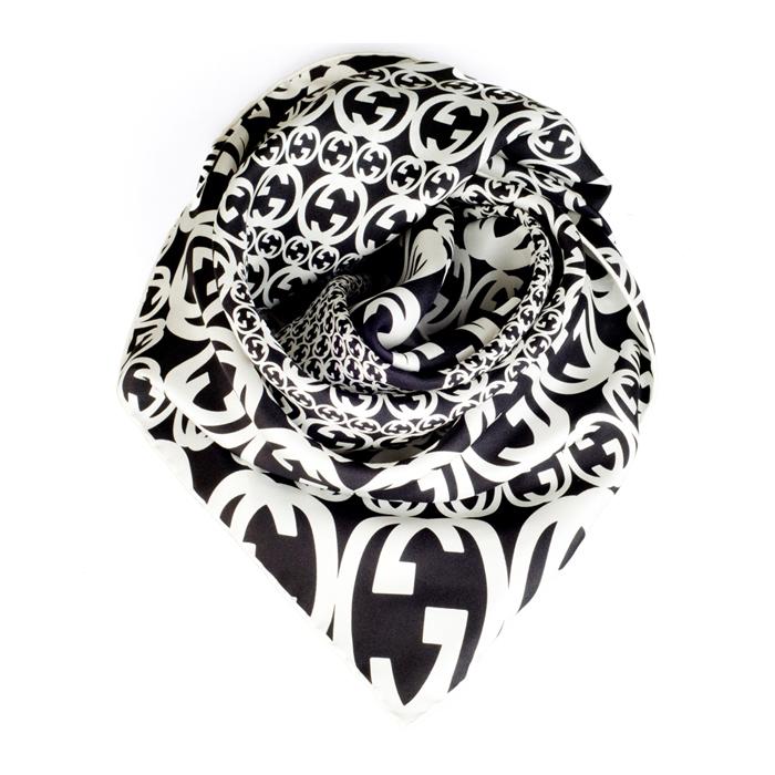 gucci古奇 新款 黑白色真丝女士大方丝巾