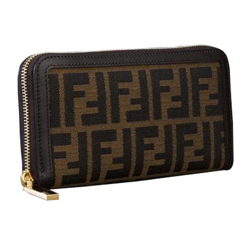 fendi 芬迪 女士经典标志印花拉链钱包 棕色 8m0299 g1e f0xyy图片