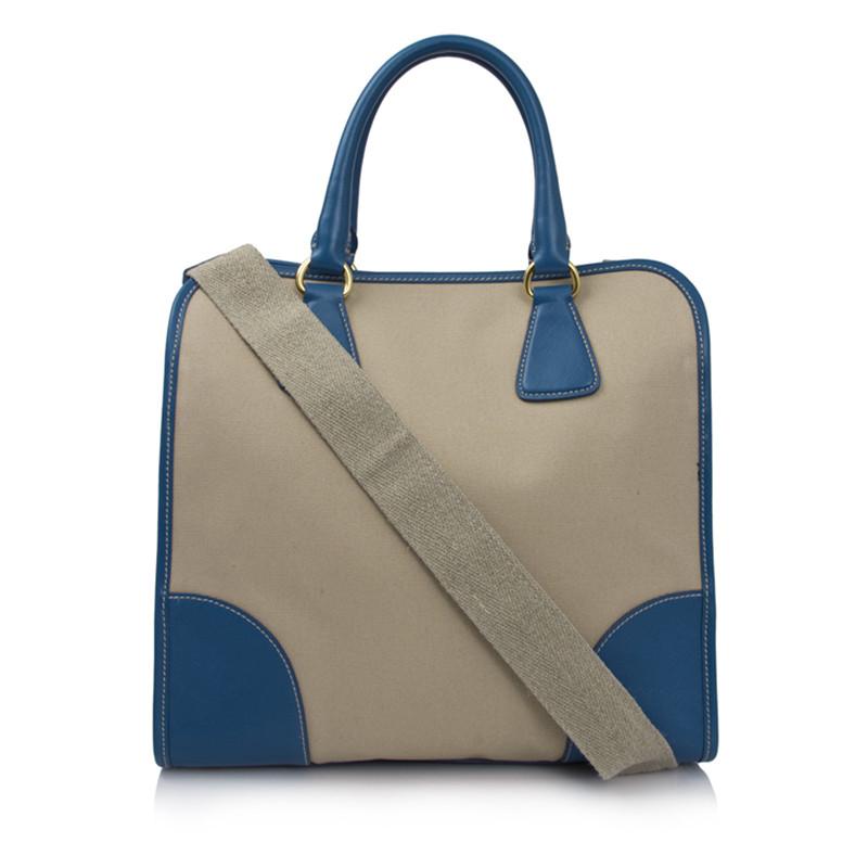 prada蓝色边帆布包